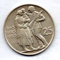 CZECHOSLOVAKIA, 25 Korun, Silver, Year 1955, KM #43 - Tchécoslovaquie