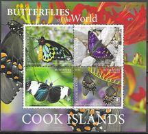 COOK ISLANDS, 2020, MNH, BUTTERFLIES, SHEETLET OF 4v - Butterflies