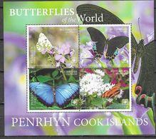 PENRHYN, COOK ISLANDS, 2020, MNH, BUTTERFLIES, SHEETLET OF 4v - Butterflies