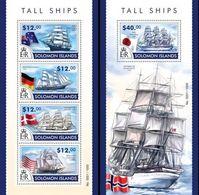 Salomon 2015, Tall Ships, 4val In BF +BF - Solomon Islands (1978-...)