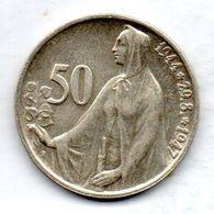 CZECHOSLOVAKIA, 50 Korun, Silver, Year 1947, KM #24 - Tchécoslovaquie