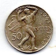CZECHOSLOVAKIA, 50 Korun, Silver, Year 1948, KM #25 - Tchécoslovaquie