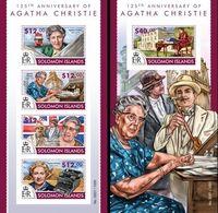Salomon 2015, Writer, Agatha Christie, Clocks, 4val In BF +BF IMPERFORATED - Solomon Islands (1978-...)
