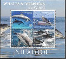 NIUAFO'OU, 2020, MNH, WHALES, CETACEANS ,  DOLPHINS, SHEETLET OF  4v - Ballenas