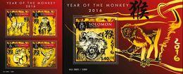 Salomon 2015, Year Of The Monkeys, 4val In BF +BF - Solomon Islands (1978-...)