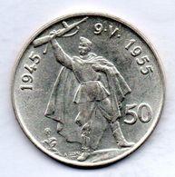 CZECHOSLOVAKIA, 50 Korun, Silver, Year 1955, KM #44 - Tchécoslovaquie