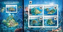 Salomon 2015, WWF, Fishes, 4val In BF +BF - Solomon Islands (1978-...)