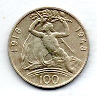 CZECHOSLOVAKIA, 100 Korun, Silver, Year 1948, KM #27 - Tchécoslovaquie