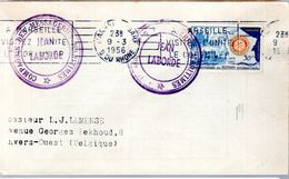 "LETTRE 1956 - POSTEE A MARSEILLE - CACHET DU PAQUEBOT ""JEAN LABORDE"" - - Schiffspost"