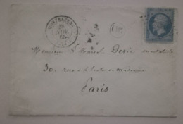 LETTRE  1865 - MONBAZENS Pour PARIS - Origine Rurale (OR) - Marcofilie (Brieven)