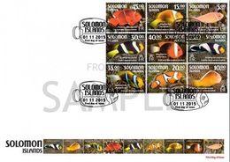 Salomon 2015, Animals, Tropical Fisches, 9val FDC - Solomon Islands (1978-...)