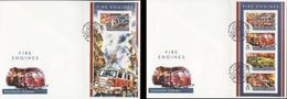 Salomon 2015, Fire Engines I, Fire Trucks, 4val In Bf +BF IMPERFORATED In 2FDC - Firemen