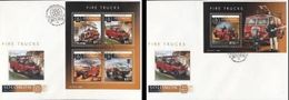 Salomon 2015, Fire Engines II, Fire Trucks, 4val In Bf +BF IMPERFORATED In 2FDC - Firemen