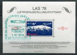 """Germany 1978 .Sondervignette LAS'78 Zeppelin Mit SST""""Vor 50 Jahren 1.Fahrt Des LZ 127""""1 Vignette - Cinderellas"""