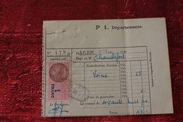 WW II-1944  REÇU IMPÔT TAXE VOIRIE P1 DÉPARTEMENTS + FISCAL- QUITTANCE 1FR Facture Document Commercial - France