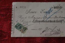 AMBÉRIEU 1929 ROURE EMILE  REÇU 1438 FR + FISCAL- 1 FR Facture Document Commercial - France