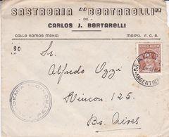 "SASTRERIA ""BERTARELLI"", CARLOS J BERTARELLI. ARGENTINE ENVELOPPE COMMERCIAL, CIRCULEE MAIPU, ANNEE 1946 -LILHU - Argentina"