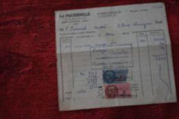 SAINT-CLAUDE 1952  CONGÉ REÇU LIVRAISON DE VIN ROUGE +2 TIMBRES FISCAL-FISCAUX 13 FR TAXE Facture Document Commercial - France