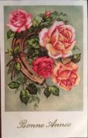 Cpa, Bonne Année (en Léger Relief), Bouquet De Roses, Fer à Cheval, Fabrication Française, écrite - Año Nuevo