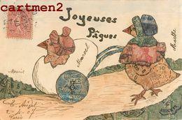 CARTE FAITE AVEC DES TIMBRES STAMP PHILATELIE SEMEUSE ILLUSTRATEUR JOYEUSES-PAQUES POUSSINS - Stamps (pictures)