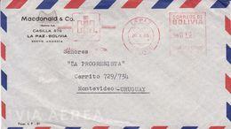 MACDONALD & CO.. BOLIVIE ENVELOPPE COMMERCIAL, CIRCULEE LA PAZ A MONTEVIDEO URUGUAY, ANNEE 1965 PAR AVION -LILHU - Bolivia