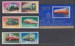 Korea North 1976 - Trains, Mi-Nr. 1555A/60A+Bl. 32, MNH** - Corea Del Norte