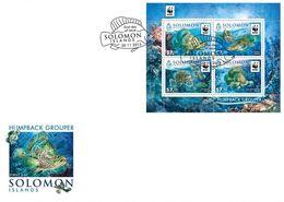 Salomon 2015, WWF, Fishes, 4val In BF In FDC - Solomon Islands (1978-...)