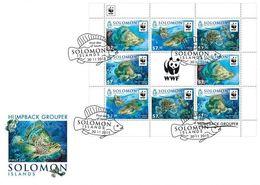 Salomon 2015, WWF, Fishes, 8val In Sheetlet In FDC - Solomon Islands (1978-...)