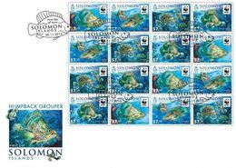 Salomon 2015, WWF, Fishes, 16val In Sheetlet In FDC - Solomon Islands (1978-...)