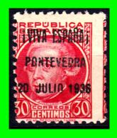 PONTEVEDRA, SOBREIMPRESIÓN PATRIÓTICA, 1937, «! VIVA ESPAÑA 19 VII 36 ESPAÑA!»  SOBREIMPRESO EN 30Cts. - 1931-Aujourd'hui: II. République - ....Juan Carlos I