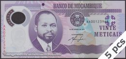 TWN - MOZAMBIQUE 149a - 20 Meticais 16.6.2011 DEALERS LOT X 5 - Polymer - Prefix AA UNC - Moçambique