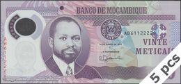 TWN - MOZAMBIQUE 149b - 20 Meticais 16.6.2017 DEALERS LOT X 5 - Polymer - Prefix AB UNC - Moçambique