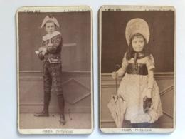 2x Cdv Atelier Jules Avenue De Villars (paris) 1889 Enfants Fille Mode Paraplu - Oud (voor 1900)