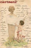 BELLE CPA ILLUSTRATEUR ANGE ANGEL BUSTE STATUE LITHOGRAPHIE 1900 - Illustrateurs & Photographes