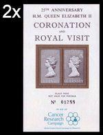 BULK: 2 X GUERNSEY 1978 Coronation Cancer 2 Vals. BLACKPROOF PERF. Sheetlet - Disease