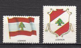 #5, Liban, Lebanon, Vignette, Cinderella, Drapeau, Flag, Armoiries, Coat Of Arms, Cèdre, Cedar, Arbre, Tree - Líbano