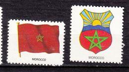 #5, Maroc, Morocco, VIGNETTE, CINDERELLA, Drapeau, Flag, Armoiries, Coat Of Arms, étoile, Star, Soleil, Sun - Morocco (1956-...)