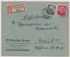 Deutsches Reich R-Brief  Der Fa.Wilhelm Graf Stettin-Grabow Mit MIF+AKs - Alemania