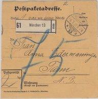 Bayern - Unfrankierte Paketkarte München 13 - Tann 1919 (Stempelfehler 1910 !) - Beieren