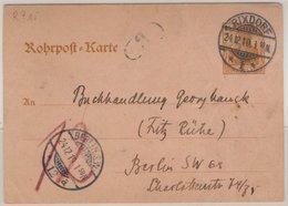 DR - 25 Pfg. Germania Rohrpost Ganzsache Rixdorf - Berlin SW12 1910 - Germany