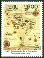 PERU 1989 LIMA GEOGRAPHICAL SOCIETY, MAP** (MNH) - Peru