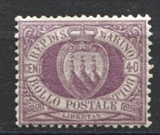 SAN MARINO 1877 CIFRA 40 C. GOMMA NON ORIGINALE - Saint-Marin