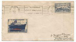 NORMANDIE 1FR50 LETTRE MEC CONCORDANTE S/S NORMANDIE LE HAVRE A NEW YORK 29. MAI 1935 + VIGNETTE POUR USA - 1921-1960: Periodo Moderno