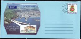 Man Aérogr Obl (110) Aerogramme Manx Radio Silver Jubilee (TB Cachet à Date) - Isola Di Man