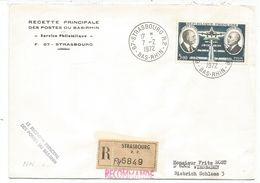 PA 5FR DAURAT VANIER SEUL LETTRE REC STRASBOURG 7.2.1972 POUR ALLEMAGNE - Poststempel (Briefe)