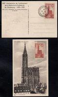 CATHEDRALE DE STRASBOURG # 443 / 24.06.1939 CARTE MAXIMUM OB.  DU 5e CENTENAIRE (ref 8121a) - Cartoline Maximum