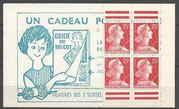 PAIRE DE CARNET MARIANNE DE MULLER SUR  N°  NEUF** LUXE SANS CHARNIERE / MNH - 1955- Marianne De Muller