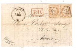 REF1421/ TP 55(2) S/LAC Deschanvres Distillerie Bucy-Le-Long C.convoyeur Crouy C.PD + PTS 3420 Soissons > Belgique - Marcophilie (Lettres)