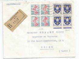 BLASON 5FR BLOC DE 4+ N°1233 BLOC DE 4 LETTRE REC CHALONS 5.9.1963 - 1941-66 Armoiries Et Blasons