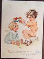 Cp ,Ilustrateur, Signée Lungers Hausen, Fillettes Couronne De Fleurs, éd C.Werner, N°1034,GERMANY, écrite - Hausen, Lungers